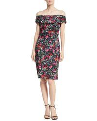 David Meister - Floral Off-the-shoulder Knee-length Dress - Lyst