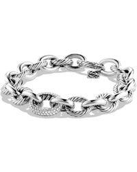 David Yurman Oval Large Link Bracelet With Diamonds - Metallic
