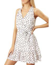 Heidi Klein Ruffle-neck Dot-print Sleeveless Mini Dress - White