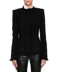 Alexander McQueen - Metallic Tweed Fringe-trim Jacket - Lyst