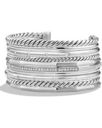 David Yurman - Stax Wide Bracelet With Diamonds - Lyst