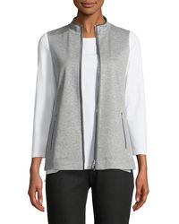 Lafayette 148 New York Charmeuse-trim Zip-front Vest - Gray