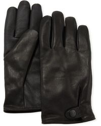 UGG Men's Tabbed-splice Vent Leather Gloves - Black