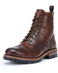Frye - George Lugged Brogue Lace-up Boots - Lyst