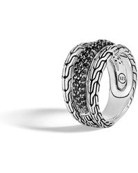 John Hardy - Classic Chain Ring W/ Black Sapphires & Spinel - Lyst