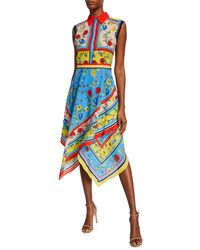 Alice + Olivia Farrah Collared Handkerchief Dress - Blue