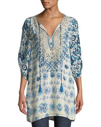 Tolani - Ingrid Long Easy Embroidered Cupro Tunic - Lyst