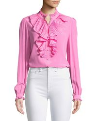 Zadig & Voltaire - Tacco Button-front Long-sleeve Silk Blouse With Pleated Ruffles - Lyst