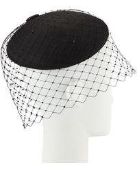 Philip Treacy Straw Beret W/ Crystal Studded Widow Veiling - Black