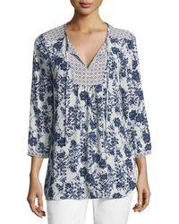 NYDJ - 3/4-sleeve Floral-print Peasant Top - Lyst