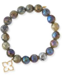 Sydney Evan - Coated Labradorite Faceted Bead Bracelet With Diamond Moroccan Flower Charm - Lyst