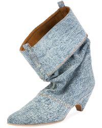 Stella McCartney - Runway Denim Scrunched Boot - Lyst