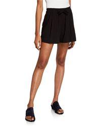 Vince Pleated Cotton Drawstring Shorts - Black