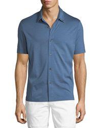 Theory - Knit Incisive Silk-blend Short-sleeve Sport Shirt - Lyst