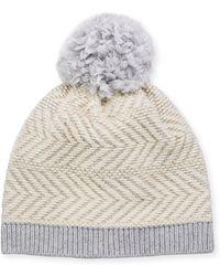 UGG - Knit Wool-blend Beanie Hat W/ Yarn Pompom - Lyst