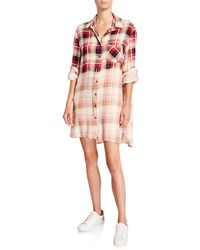 Loyd/Ford Plaid Shirt Dress With Sequined Elbow Patches - Red