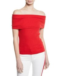 Ralph Lauren Collection - Off-the-shoulder Cotton Ribbed Top - Lyst