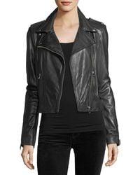 Lamarque - Classic Leather Biker Jacket - Lyst