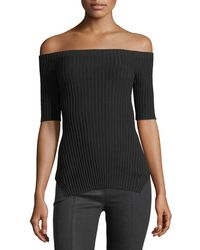 Helmut Lang | Off-the-shoulder Short-sleeve Ribbed Silk Top | Lyst