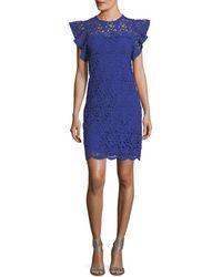 Velvet - Ally Frill-sleeve Lace-guipure Dress - Lyst