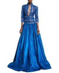 Naeem Khan - Stand-collar Plunging Beaded-bodice Ball Gown - Lyst