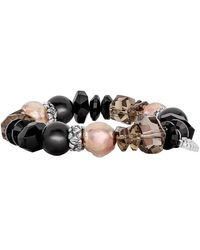 Stephen Dweck Black Agate, Smoky Quartz & Mother-of-pearl Stretch Bracelet