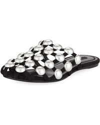 Alexander Wang - Amelia Studded Caged Suede Mule Flat - Lyst