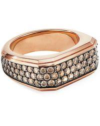 David Yurman Men's Pave Wide Roman Signet Ring - Metallic