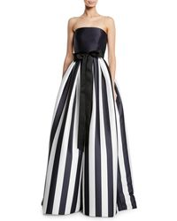 Monique Lhuillier Striped Mikado Bow-waist Strapless Ball Gown With Full Skirt - Black
