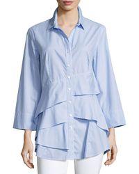 Finley Plus Size Jenna Striped Chambray Tiered-ruffle Blouse - Blue