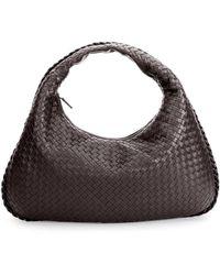 3532ff9ac58 Bottega Veneta - Veneta Intrecciato Large Hobo Bag Dark Brown - Lyst