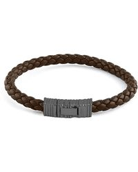 Ermenegildo Zegna - Men's Braided Leather & Rhodium-plated Bracelet Brown - Lyst