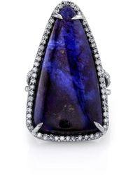 Sheryl Lowe Triangular Sugilite Slice Ring, Size 7.5 - Blue