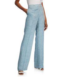 Lafayette 148 New York Dalton Bravado Italian Linen Full-leg Pants - Blue