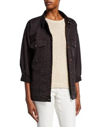 Eileen Fisher Organic Stretch-cotton Relaxed Denim Jacket - Black
