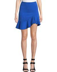 Alice + Olivia Marcella Asymmetrical Ruffle Skirt - Blue
