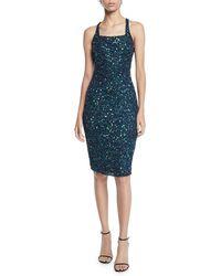 Parker Sage Sequin Halter Crisscross Dress - Green