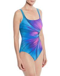 Gottex - Belle Fleur Square-neck One-piece Swimsuit - Lyst