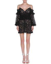 Francesco Scognamiglio - Floral Lace Cold-shoulder Peplum Minidress - Lyst
