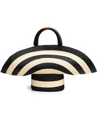 Eugenia Kim Large Striped Woven Beach Tote Bag - Black