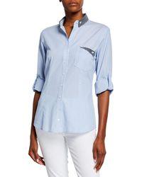 Finley Mr French Striped Button-down Shirt W/ Preppy Dot Trim - Blue