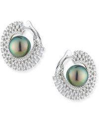 Belpearl 18k White Gold 10mm Tahitian Pearl & Diamond Hoop Earrings - Multicolor