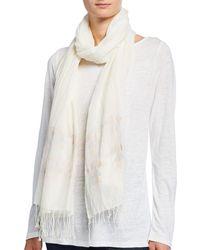 Eileen Fisher Handloom Organic Cotton Jamdani Triangles Scarf - White