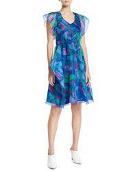 Emporio Armani - Printed Sheer-detail Dress - Lyst