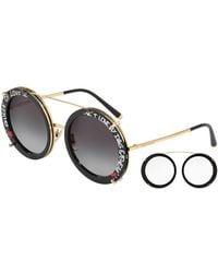 93b1b5a85fb Dolce   Gabbana - Round Clip-on Front Metal Sunglasses - Lyst