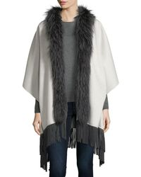 Neiman Marcus | Luxury Double-faced Cashmere Shawl W/ Fox Fur Collar & Suede Fringe Hem | Lyst