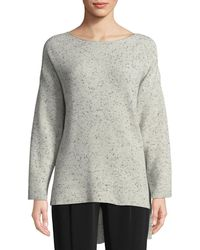 Co. - Boat-neck Long-sleeve Speckle High-low Cashmere Sweater - Lyst