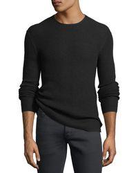 John Varvatos | Waffle-knit Crewneck Sweater | Lyst