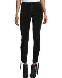 Joe's Jeans - The Icon Ankle Mid-rise Velvet Pants W/ Lace-up Hem - Lyst
