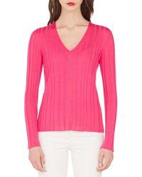 Akris Fine-ribbed V-neck Sweater - Pink